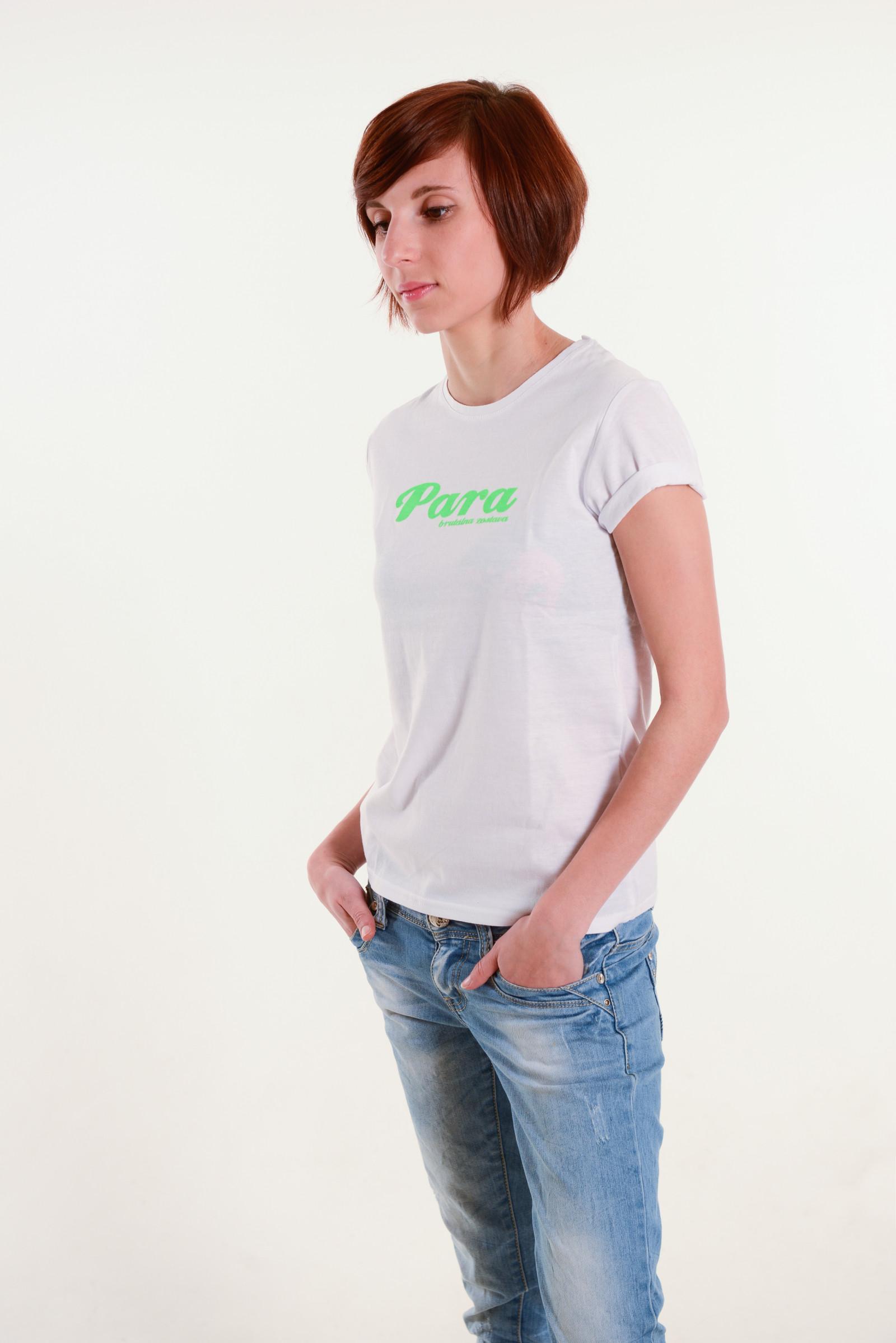 392067e7b4c6d Dámske biele tričko s neónovo zeleným nápisom DSC2903. DSC2903 · DSC2907